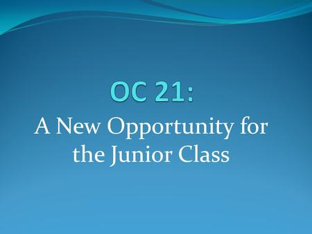 A New Opportunity for the Junior Class.  Online elective courses  Classes with students from 15 other school districts  Courses begin this spring 
