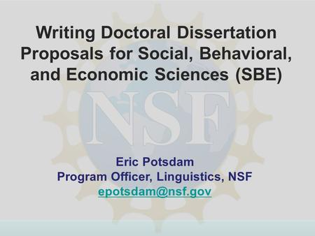 Dissertation Improvement Grant Nsf