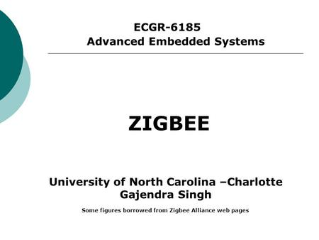 ECGR-6185 ZIGBEE Advanced Embedded Systems University of North Carolina –Charlotte Gajendra Singh Some figures borrowed from Zigbee Alliance web pages.