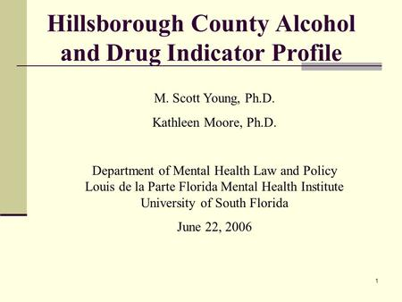 1 Hillsborough County Alcohol and Drug Indicator Profile M. Scott Young, Ph.D. Kathleen Moore, Ph.D. Department of Mental Health Law and Policy Louis de.