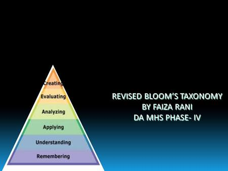 REVISED BLOOM'S TAXONOMY BY FAIZA RANI DA MHS PHASE- IV REVISED BLOOM'S TAXONOMY BY FAIZA RANI DA MHS PHASE- IV.