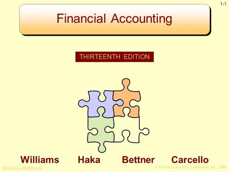 © The McGraw-Hill Companies, Inc., 2008 McGraw-Hill/Irwin 1-1 Financial Accounting THIRTEENTH EDITION Williams Haka Bettner Carcello.
