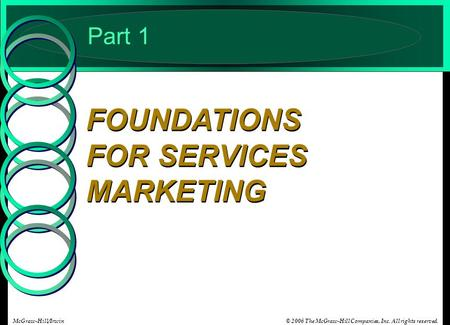© 2006 The McGraw-Hill Companies, Inc. All rights reserved.McGraw-Hill/Irwin Part 1 FOUNDATIONS FOR SERVICES MARKETING.