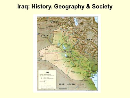 <strong>Iraq</strong>: History, Geography & Society. Demography Population: about 33 million Ethnic Make-Up: 75% Arabic, 20% Kurdish, and 5% Turkmen Religions: 63% Shia,