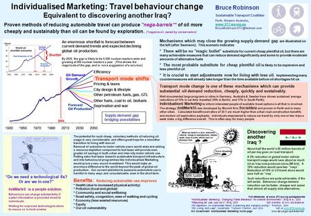 "Individualised Marketing: Travel behaviour change Equivalent to discovering another Iraq? Proven methods of reducing automobile travel can produce ""nega-barrels""*"
