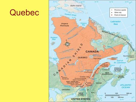 Quebec. Physical Geography Large area Straddles three physiographic regions: –Canadian Shield –Appalachia –St. Lawrence Lowlands St. Lawrence River separates.