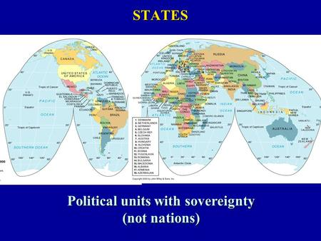 STATES Political units with sovereignty (not nations)