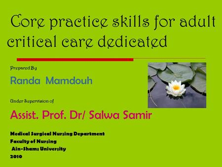 Core practice skills for adult critical care dedicated Prepared By Randa Mamdouh Under Supervision of Assist. Prof. Dr/ Salwa Samir Medical Surgical Nursing.