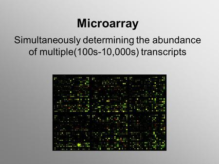 Microarray Simultaneously determining the abundance of multiple(100s-10,000s) transcripts.