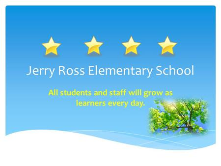 Jerry Ross Elementary School All students and staff will grow as learners every day.