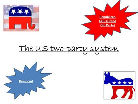 The US two-party system Republican GOP (Grand Old Party) Democrat.