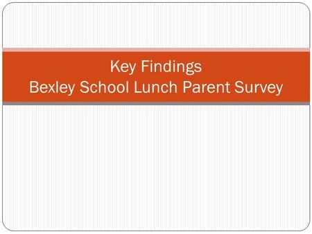 Key Findings Bexley School Lunch Parent Survey. Survey Details 4/5/2012 Bexley Lunch Survey, Preliminary Results 2 Survey created with input from Health.