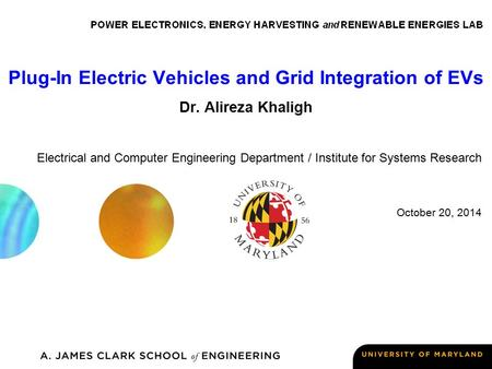 Plug-In Electric Vehicles and Grid Integration of EVs Dr