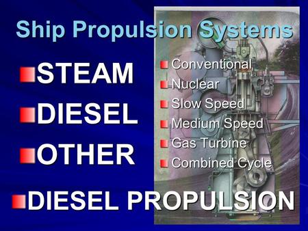 Ship Propulsion Systems STEAMDIESELOTHERConventionalNuclear Slow Speed Medium Speed Gas Turbine Combined Cycle DIESEL PROPULSION.