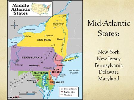 Mid Atlantic States Map.Middle Atlantic States States And Capitals New York Ny