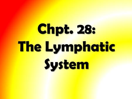 Chpt. 28: The Lymphatic System. Study of the Lymphatic System will involve three main areas: 1.The Lymphatic System 2.The Formation of Lymph 3.The functions.