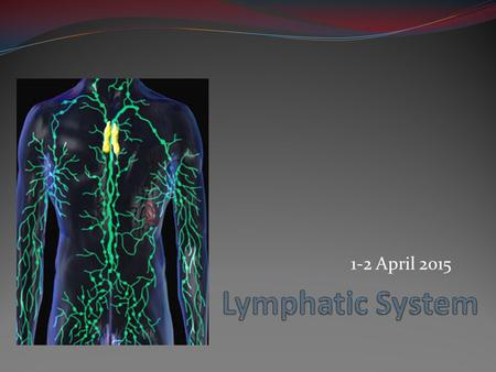 1-2 April 2015. Lymphatic System Function The lymphatic system consists of two main parts, each with different functions: 1. Lymphatic vessels collect.