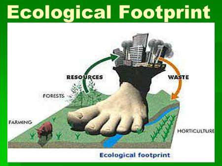 Ecological Footprint.  Calculating your impact  Reducing our footprint  Difference between wants & needs.