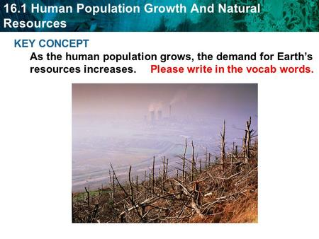 KEY CONCEPT As the human population grows, the demand for Earth's resources increases. Please write in the vocab words.