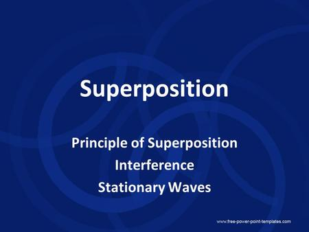 Principle of Superposition Interference Stationary Waves