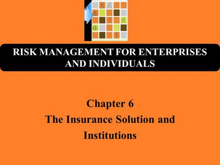 RISK MANAGEMENT FOR ENTERPRISES AND INDIVIDUALS Chapter 6 The Insurance Solution and Institutions.
