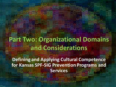 Part Two: Organizational Domains and Considerations Defining and Applying Cultural Competence for Kansas SPF-SIG Prevention Programs and Services.