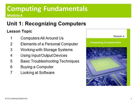 Computing Fundamentals Module A © CCI Learning Solutions Inc. 1 Unit 1: Recognizing Computers Lesson Topic 1Computers All Around Us 2Elements of a Personal.