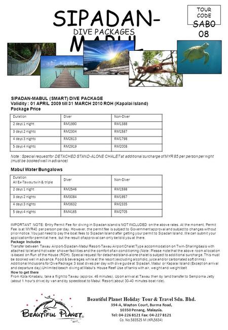 SIPADAN-MABUL SAB008 DIVE PACKAGES TOUR CODE