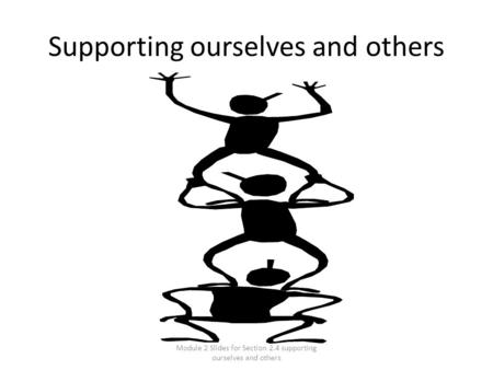 Module 2 Slides for Section 2.4 supporting ourselves and others Supporting ourselves and others.