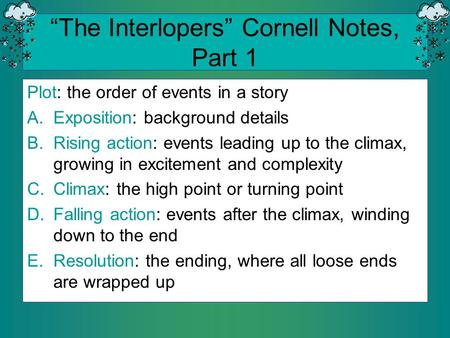 """The Interlopers"" Cornell Notes, Part 1"