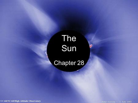 The Sun Chapter 28. Basic Properties Composition of sun 0.8% 70% 28% 0.3% 0.2%