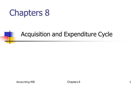 Chapters 8 Acquisition and Expenditure Cycle Accounting 4081Chapters 8.