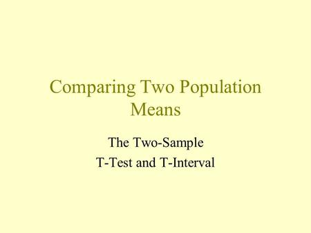 Comparing Two Population Means The Two-Sample T-Test and T-Interval.