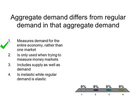 Aggregate demand differs from regular demand in that aggregate demand