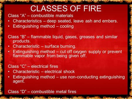 "CLASSES OF FIRE Class ""A"" – combustible materials"