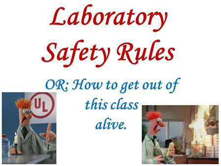 Laboratory Safety Rules OR: How to get out of this class alive.