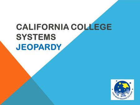 CALIFORNIA COLLEGE SYSTEMS JEOPARDY 400 Community Colleges 100 300 200 500 100 200 400 California State University 300 500 100 University of California.