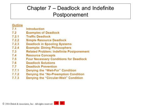  2004 Deitel & Associates, Inc. All rights reserved. Chapter 7 – Deadlock and Indefinite Postponement Outline 7.1 Introduction 7.2Examples of Deadlock.