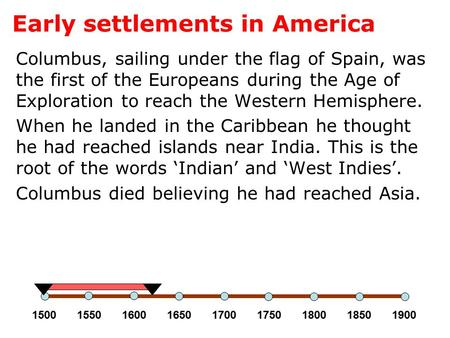 Early settlements in America Columbus, sailing under the flag of Spain, was the first of the Europeans during the Age of Exploration to reach the Western.