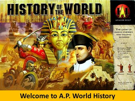 Welcome to A.P. World History. Course Description In A.P. World History we will explore key themes of world history, including interaction with the environment,