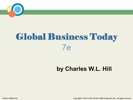 Copyright © 2011 by The McGraw-Hill Companies, Inc. All rights reserved. McGraw-Hill/Irwin Global Business Today 7e by Charles W.L. Hill.