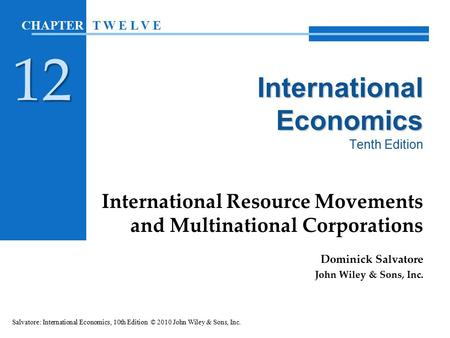 International Economics Tenth Edition