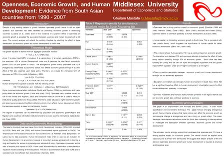 Openness, Economic Growth, and Human Development: Evidence from South Asian countries from 1990 - 2007 Middlesex University Department of Economics and.