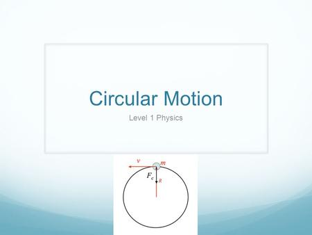 Circular Motion Level 1 Physics. What you need to know Objectives Explain the characteristics of uniform circular motion Derive the equation for centripetal.