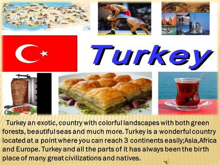 Turkey an exotic, country with colorful landscapes with both green forests, beautiful seas and much more. Turkey is a wonderful country located at a point.