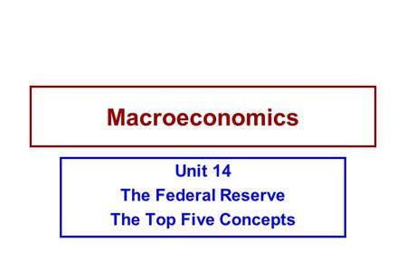 Unit 14 The Federal Reserve The Top Five Concepts