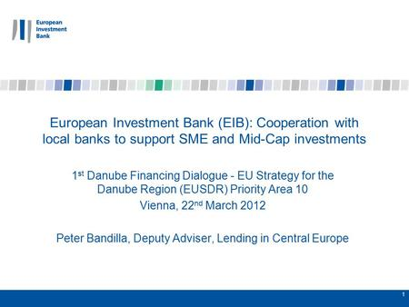 1 European Investment Bank (EIB): Cooperation with local banks to support SME and Mid-Cap investments 1 st Danube Financing Dialogue - EU Strategy for.