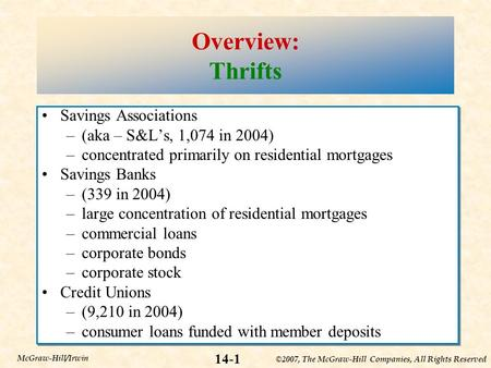 ©2007, The McGraw-Hill Companies, All Rights Reserved 14-1 McGraw-Hill/Irwin Overview: Thrifts Savings Associations –(aka – S&L's, 1,074 in 2004) –concentrated.