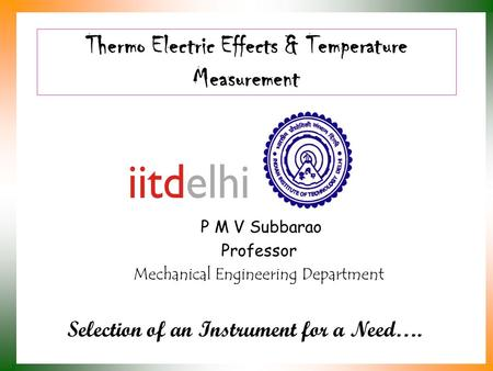 Thermo Electric Effects & Temperature Measurement
