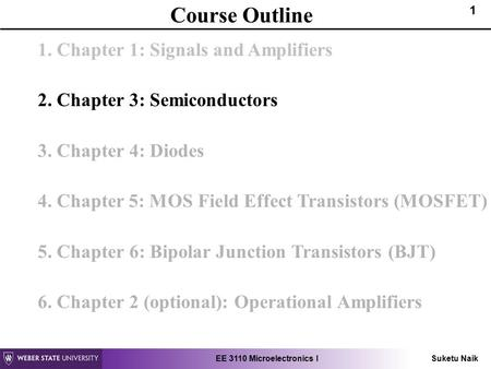 Course Outline 1. Chapter 1: Signals and Amplifiers